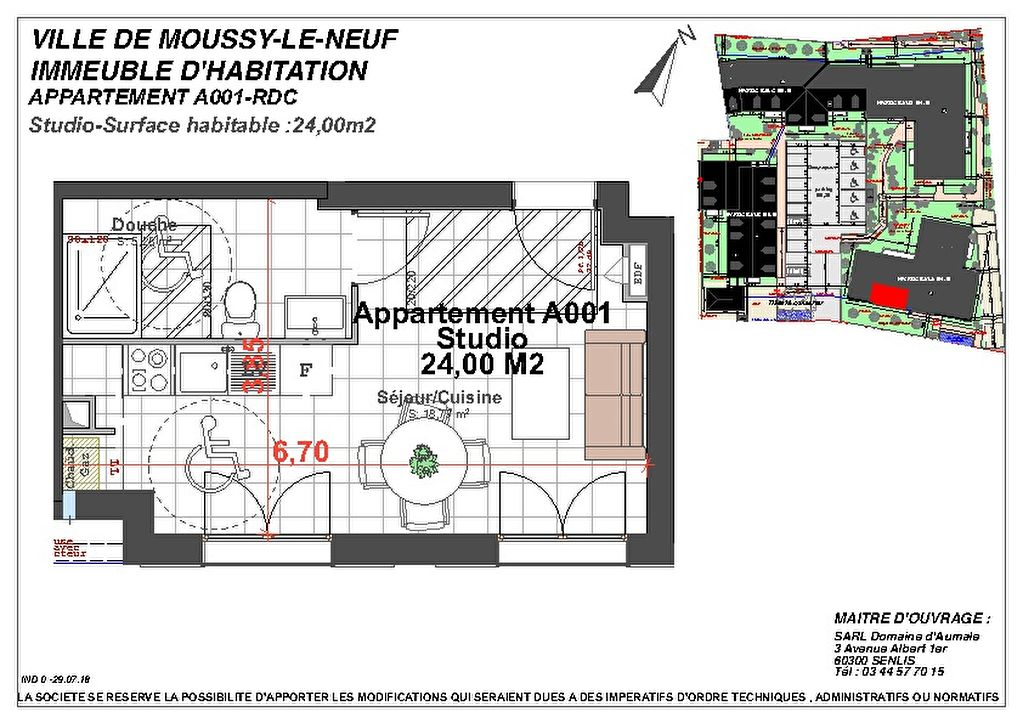 Appartement NEUF Moussy Le Neuf 1 pièce(s) 24 m2