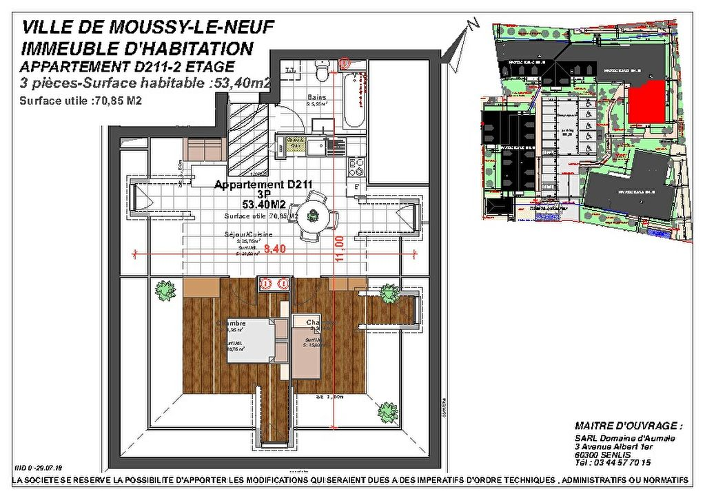 Appartement NEUF Moussy Le Neuf 3 pièce(s) 53.40 m2